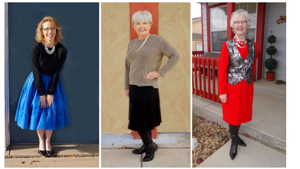 all three holiday party outfits for the 50's 60's 70's