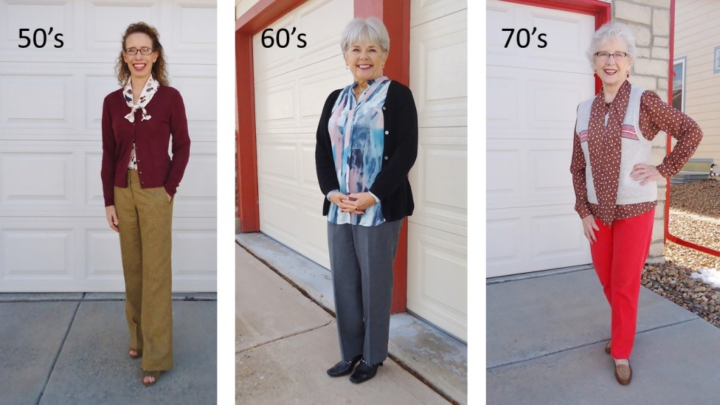 Bow Tie Blouse for women in the age groups 50's, 60's & 70's.