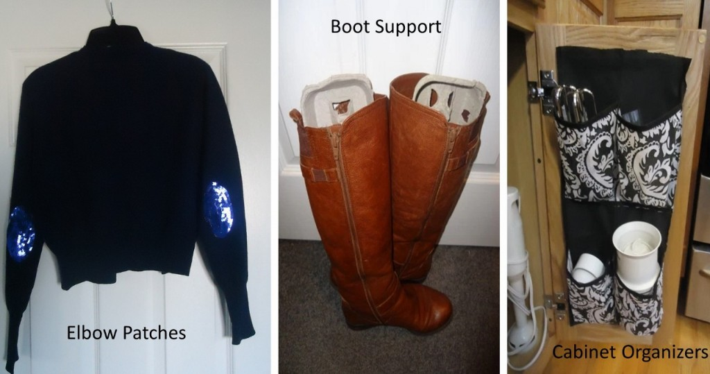 update of elbow patches, boot support & cabinet organizers