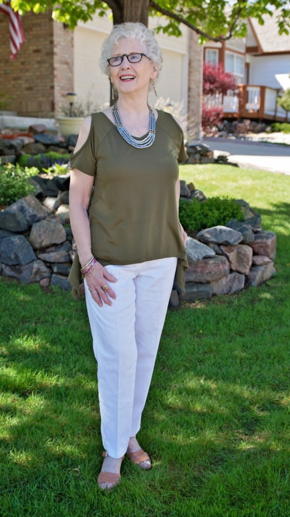 cold shoulder shirts for women in their 70's.