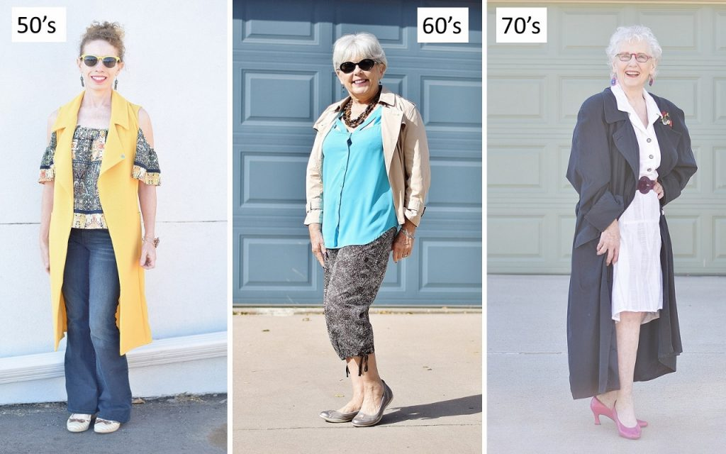 Women in their 50's, 60's & 70's styling a trench coat.