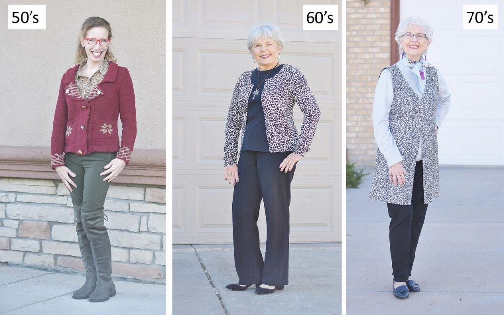Women in their 50's, 60's & 70's wearing animal Prints.