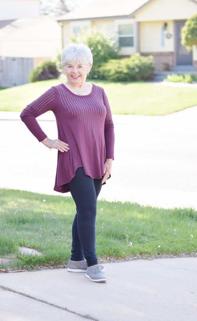 Athletic Shoes paired with leggings for women over 40