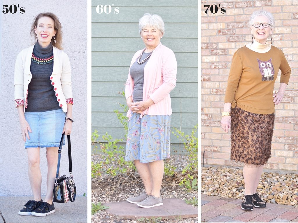 Style for Women over 50 that breaks the rules with sneakers and skirts