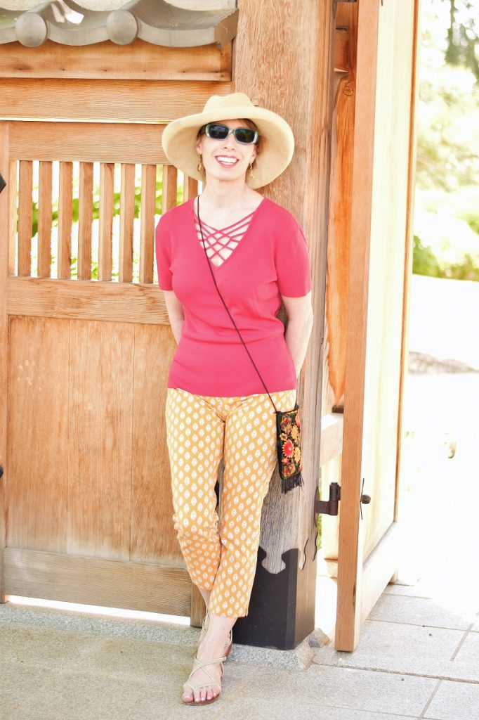 Comfortable shoes, hat, & crossbody bag for a day of Walking
