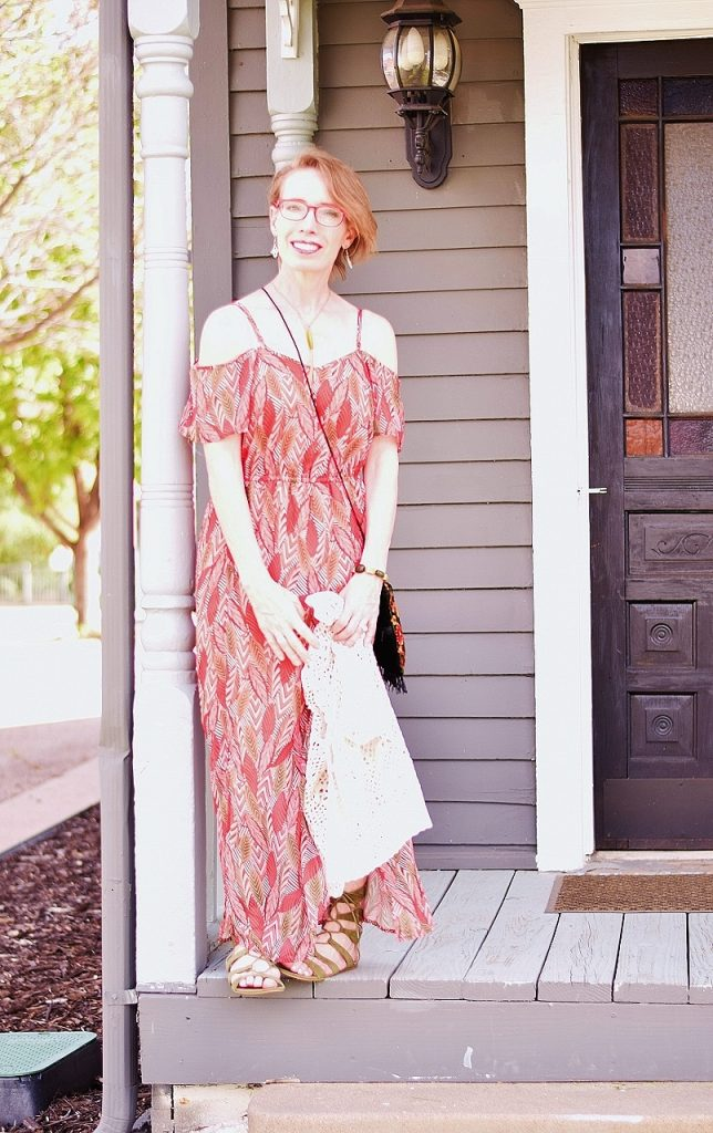 A maxi dress for a summer event outfit for women over 50