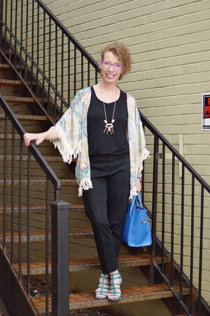 All black clothes with a kimono for women over 50