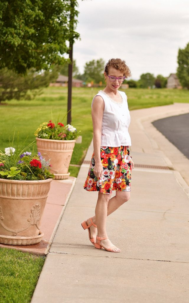 White blouse for classic to modern style with floral skirt