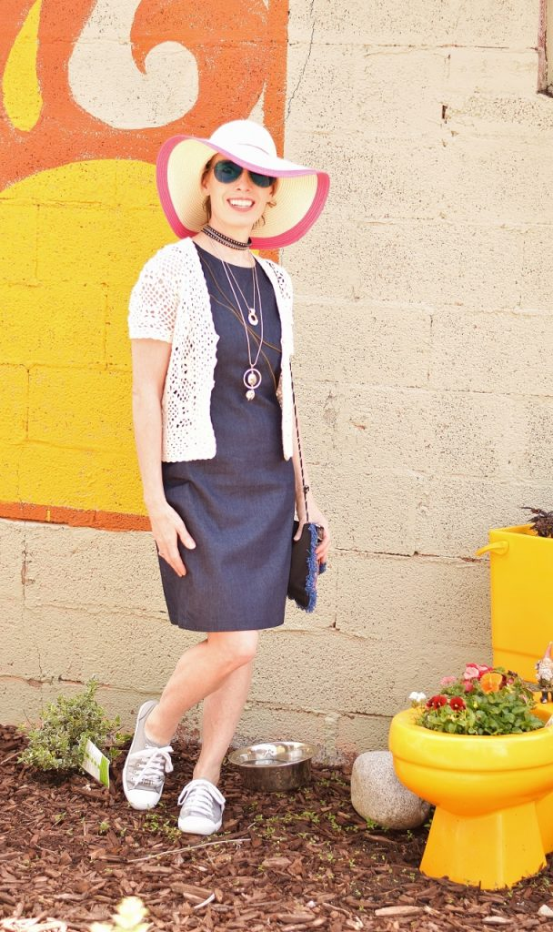 A Daytime look for your denim dress