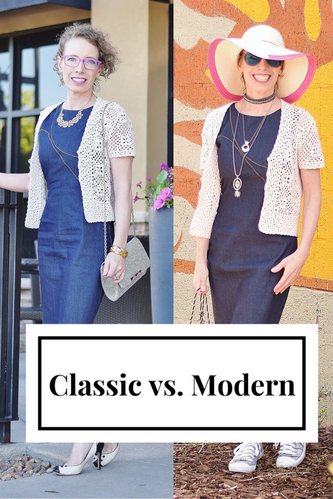 Classic vs Modern Dress changed with shoes for Women over 50