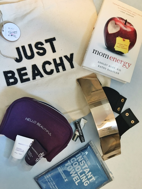 Goodie bag full of sponsored items at our LA weekend