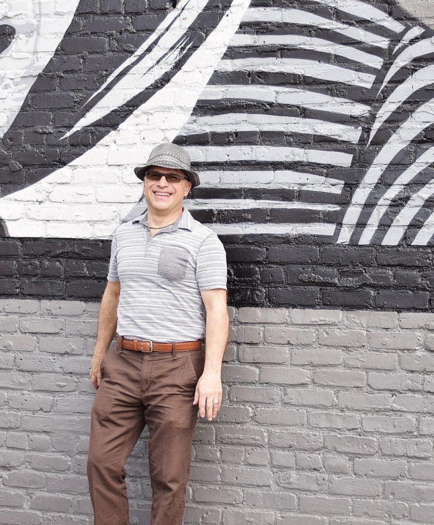 Men over 50 & style at sidewalk chalk art festival