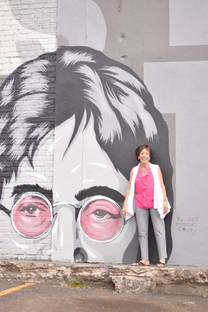 Women over 70 & style at sidewalk chalk art festival