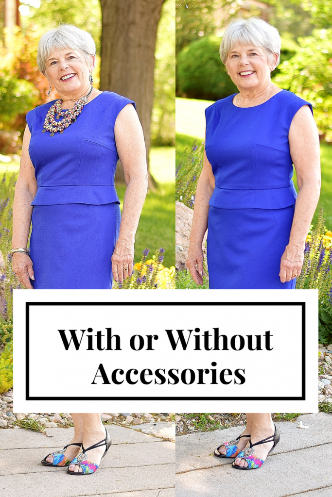 Woman 60+ comparing Accessories with solid colors