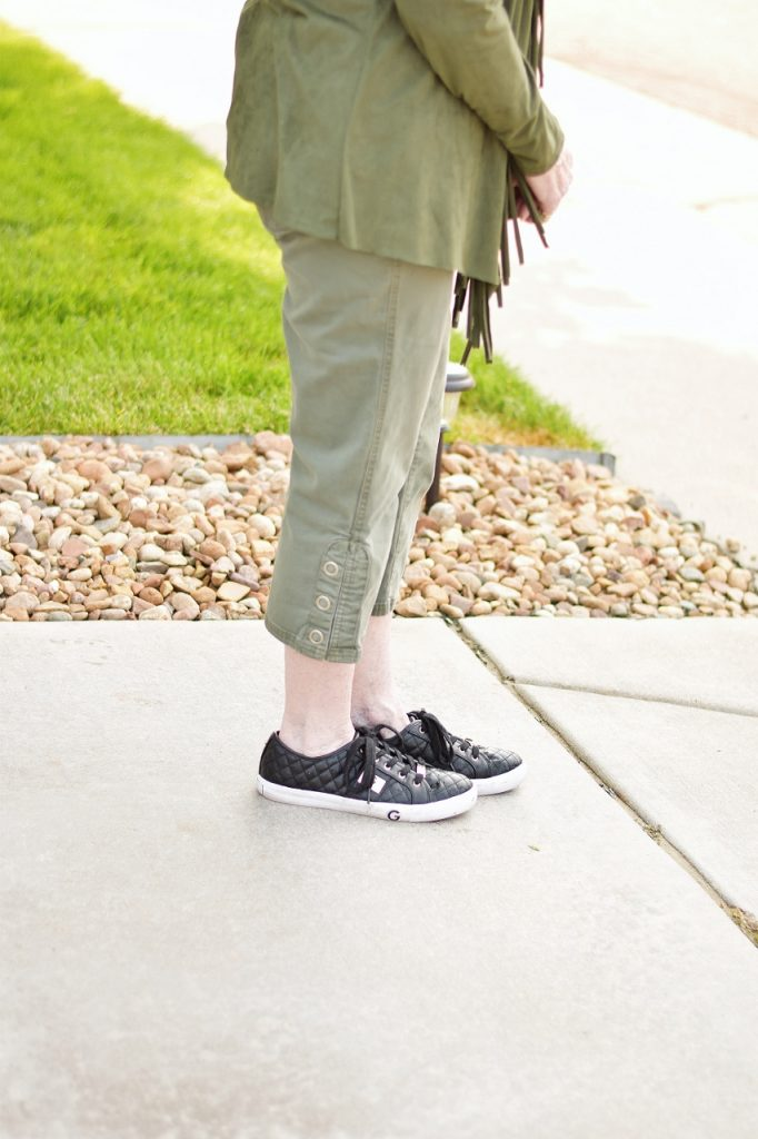 Sneakers as part of athletic capri style