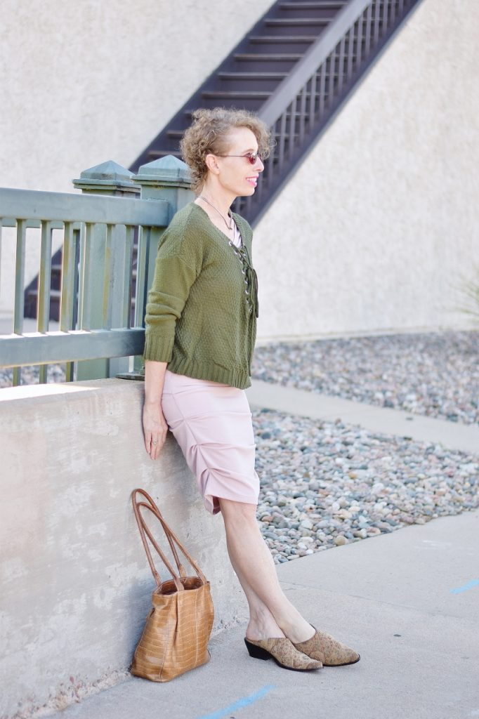 Blush and Olive green for women in their 50's