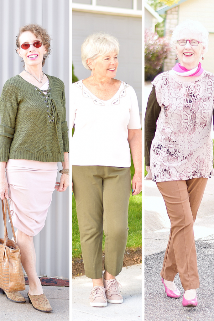 blush and olive green for 3 Generations