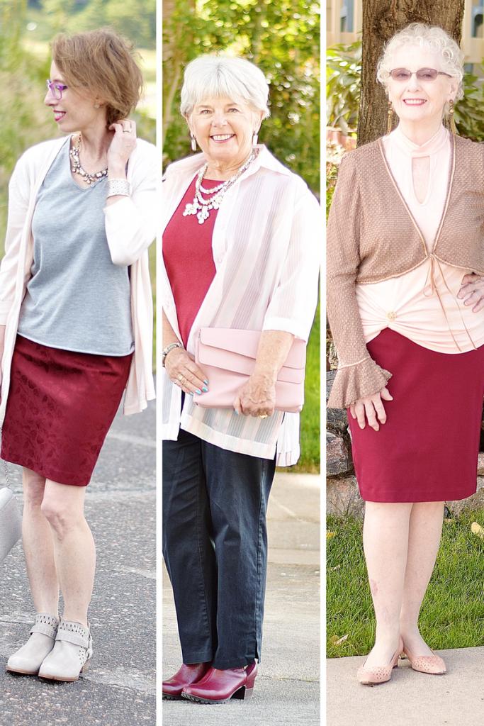 3 generations of Women wearing blush and burgundy