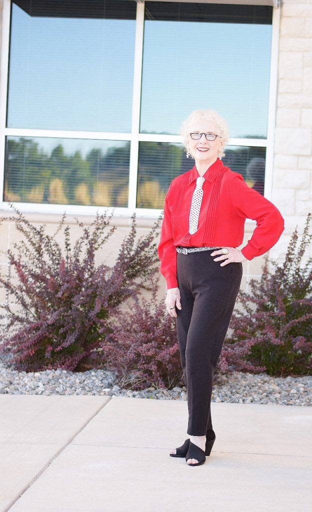 black pants with red