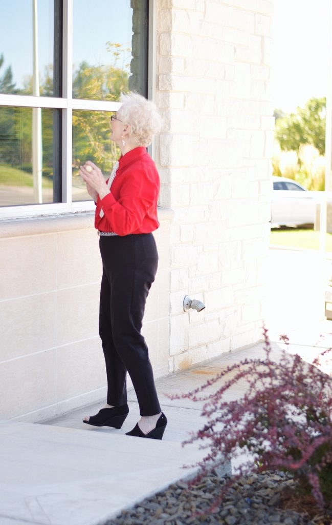 Women wearing black pants