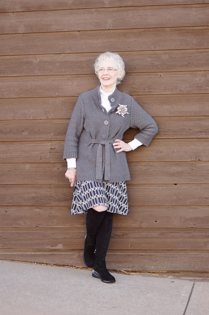 women over 70 wearing over the knee boots