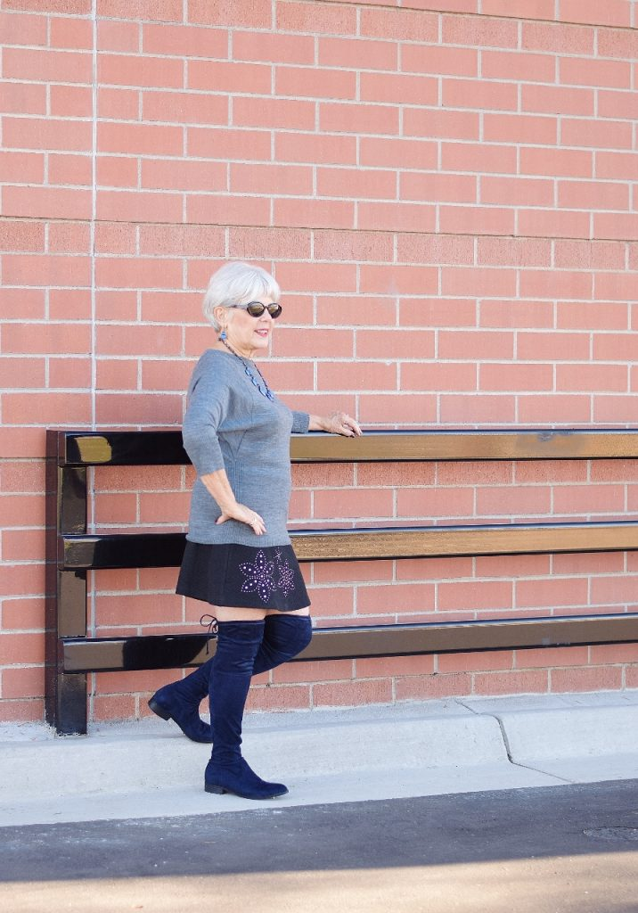 Boomer women wearing over the knee boots