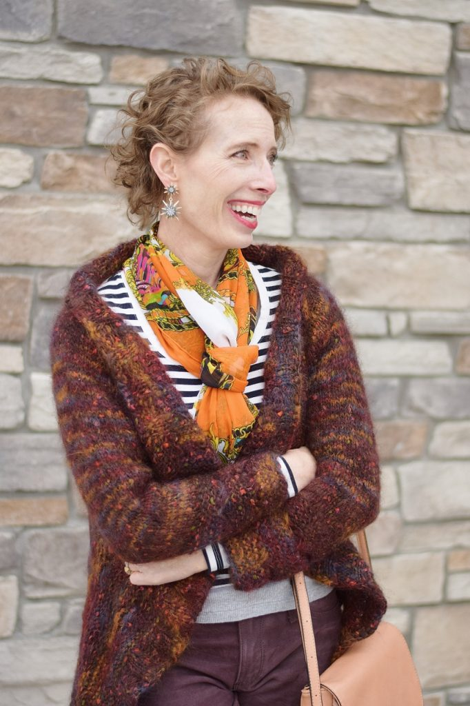 stripes and print mixing for women over 50