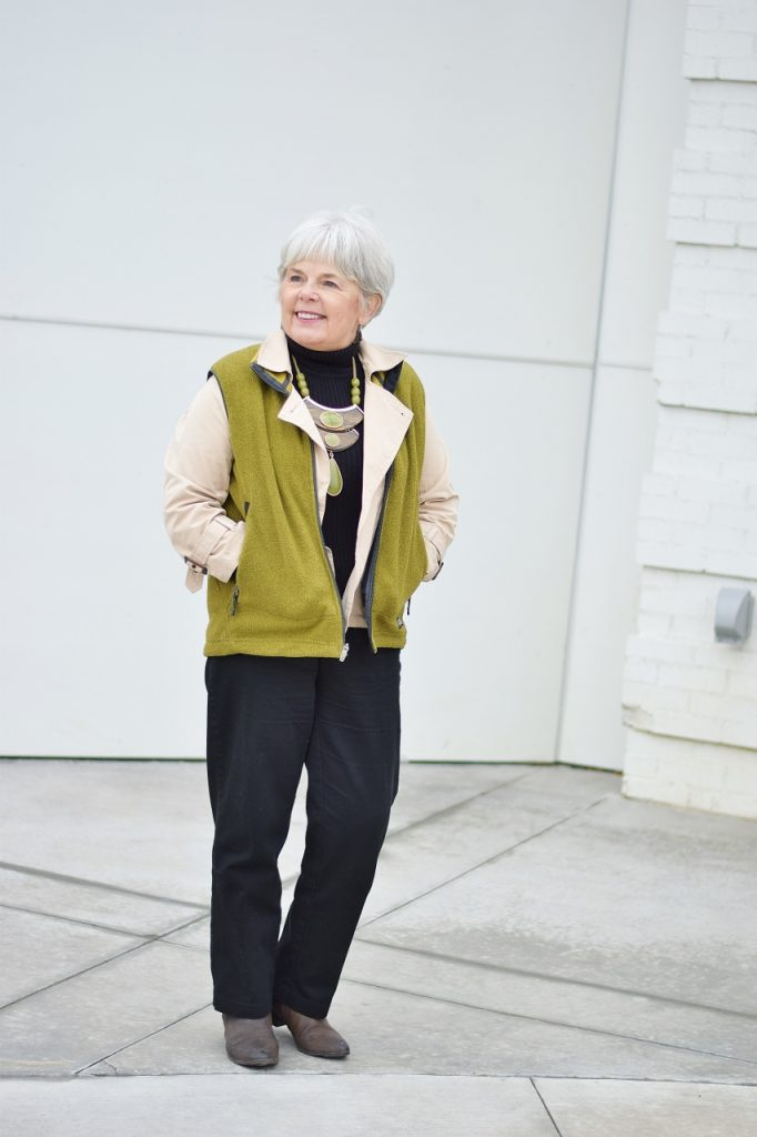 Layering a short vest for women aged 60 and above