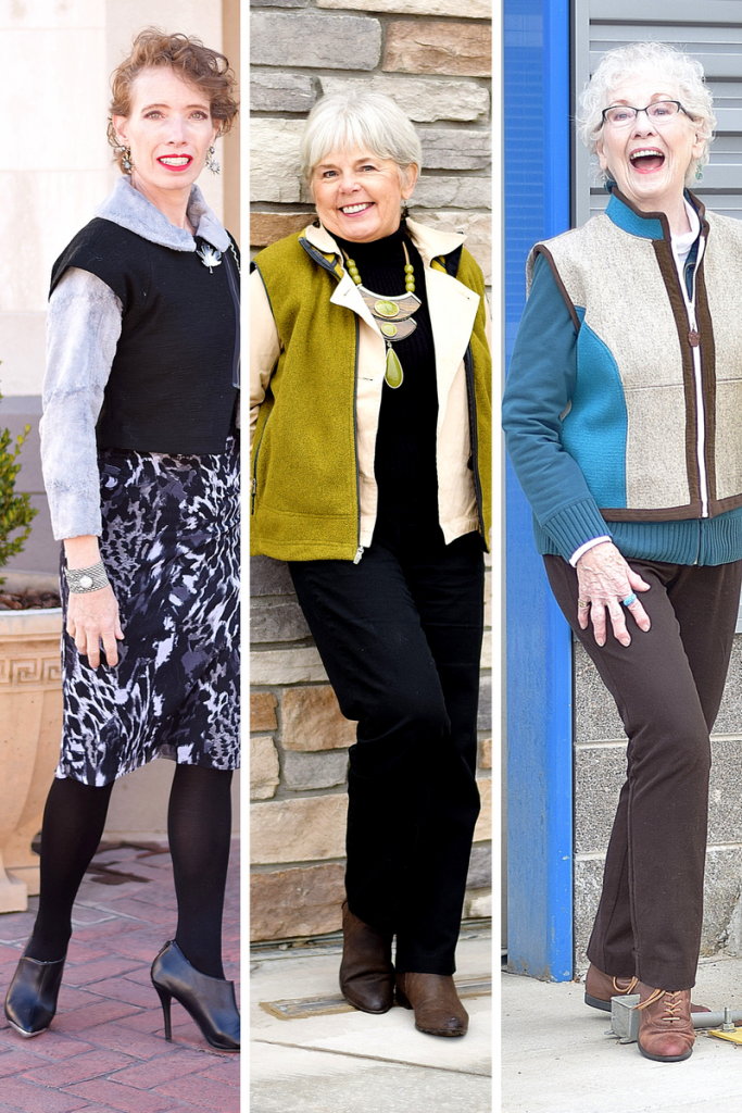 Layering a short vest for 3 generations of women