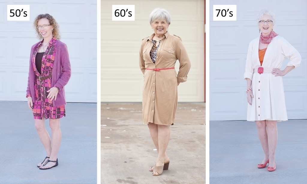 Shirt Dress Worn over a Top for Women over 50 in Fashion