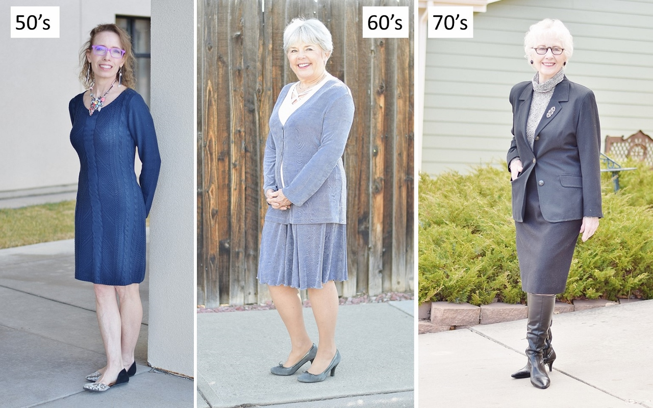 Funeral outfits for women over 50 including black, grey & navy