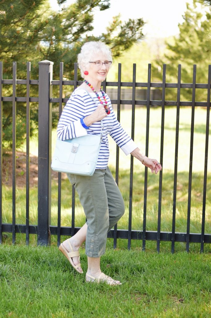 Women 70+ with capri pants and a casual outfit