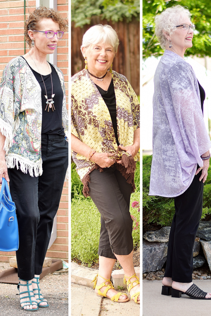 4f3865c1b2a6 Black Clothes made Summery with a Kimono for Women over 50