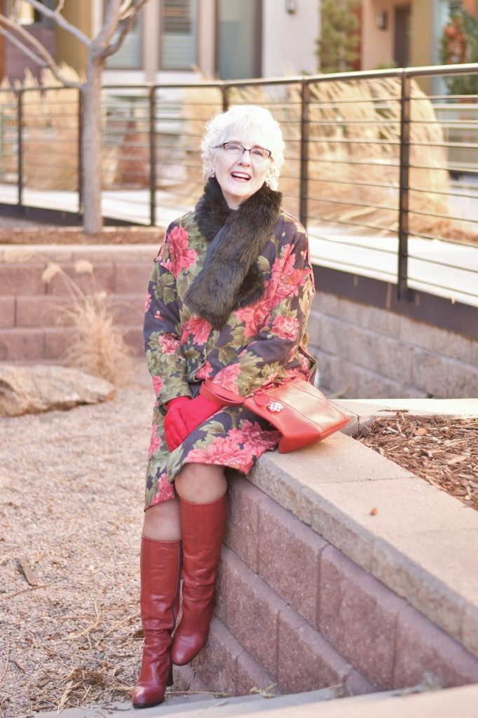 Winter Accessories with a floral winter jacket