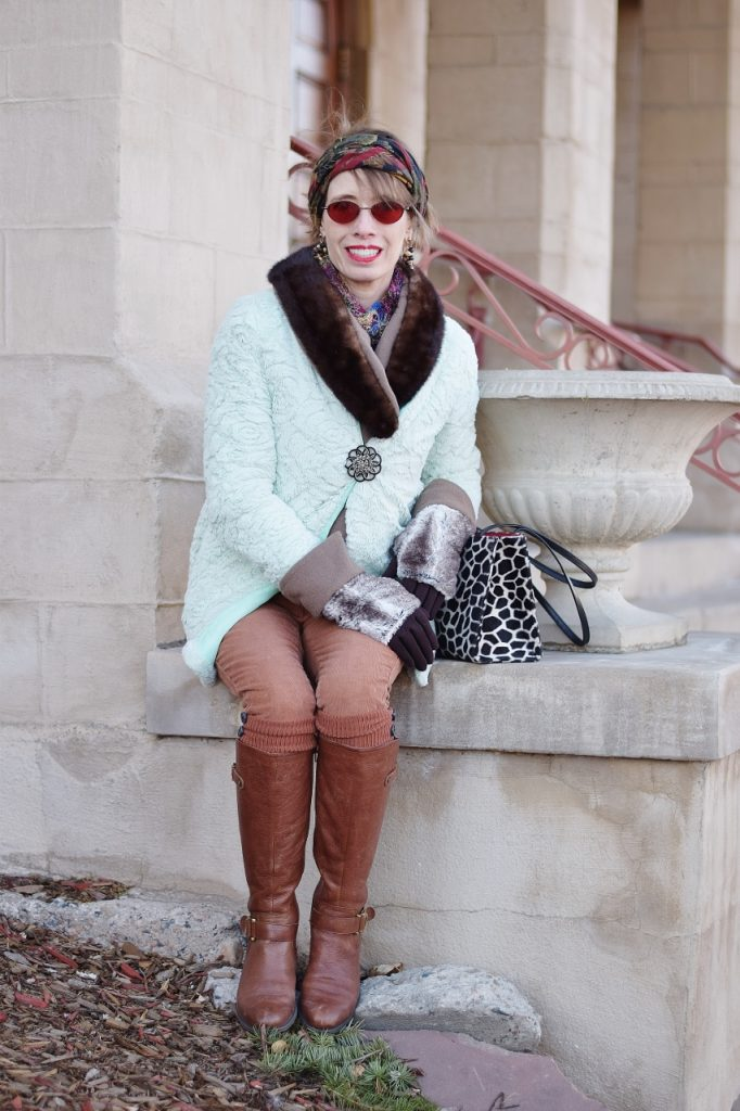 Styling Scarves and gloves at age 50 with a fuzzy coat