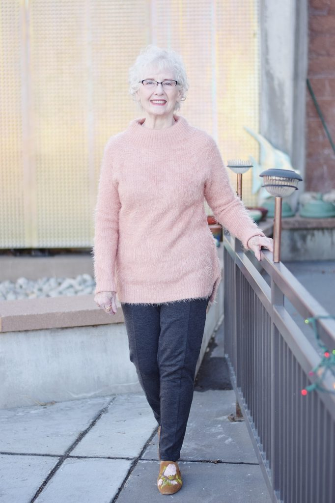 Sweater Weather in blush for women in their 70's