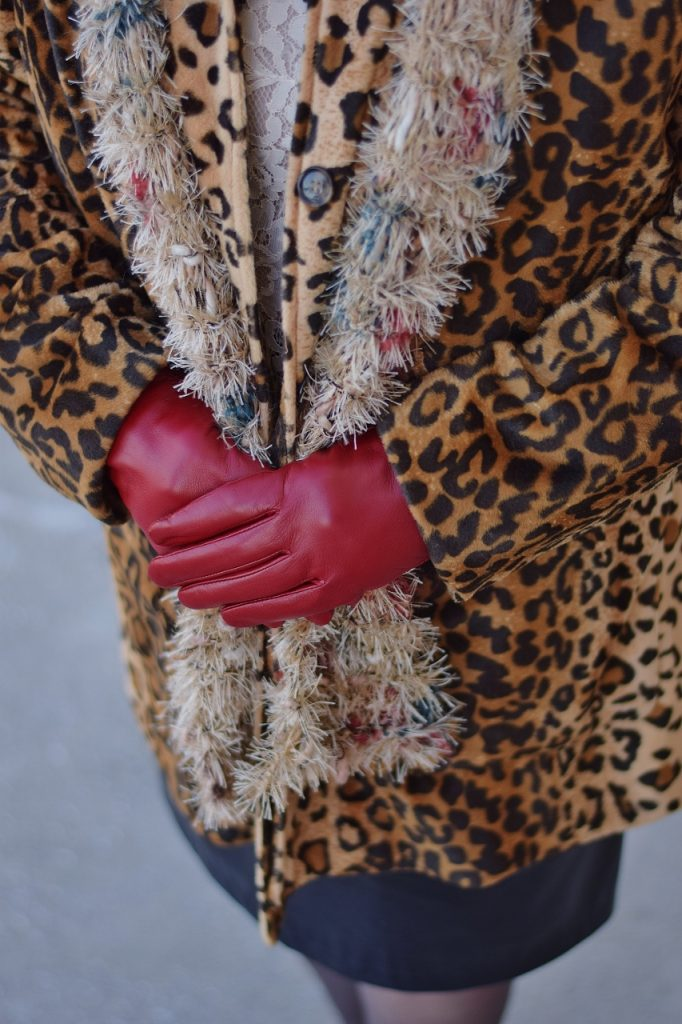 Leopard Coats with red gloves
