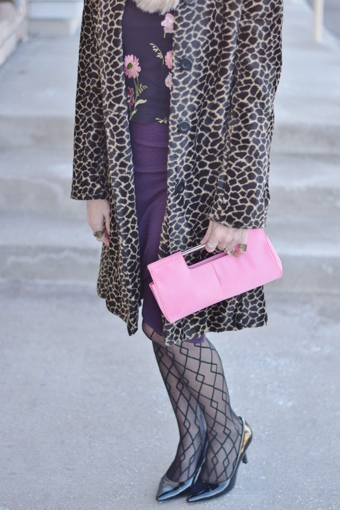 Leopard Coats with pink purse