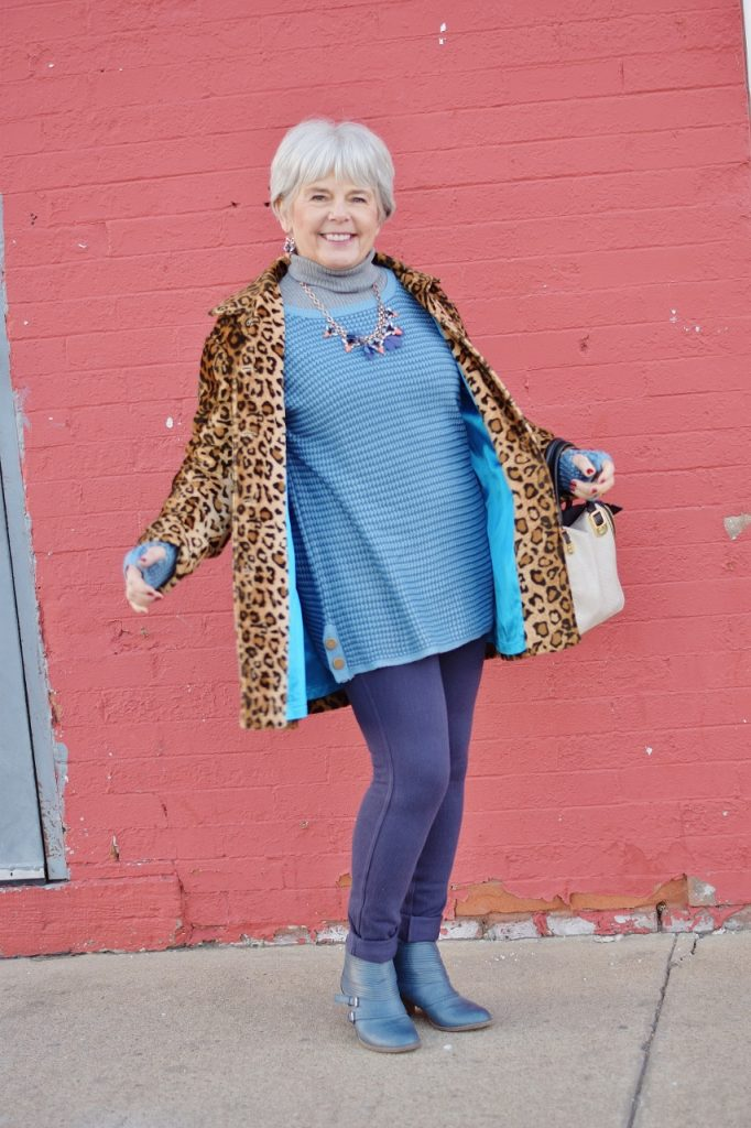 Leopard coats for Women with blue lining