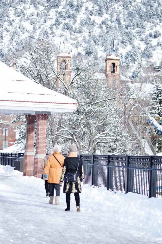 The pedestrian bridge in Glenwood Springs