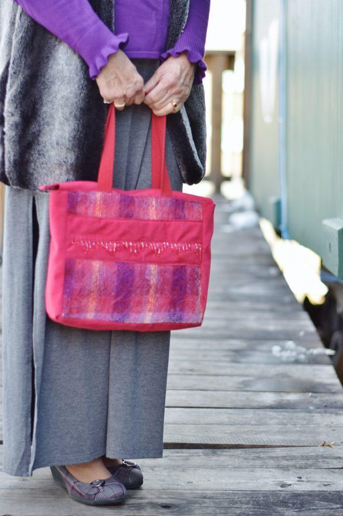 Using scrap fabric sewn into a purse
