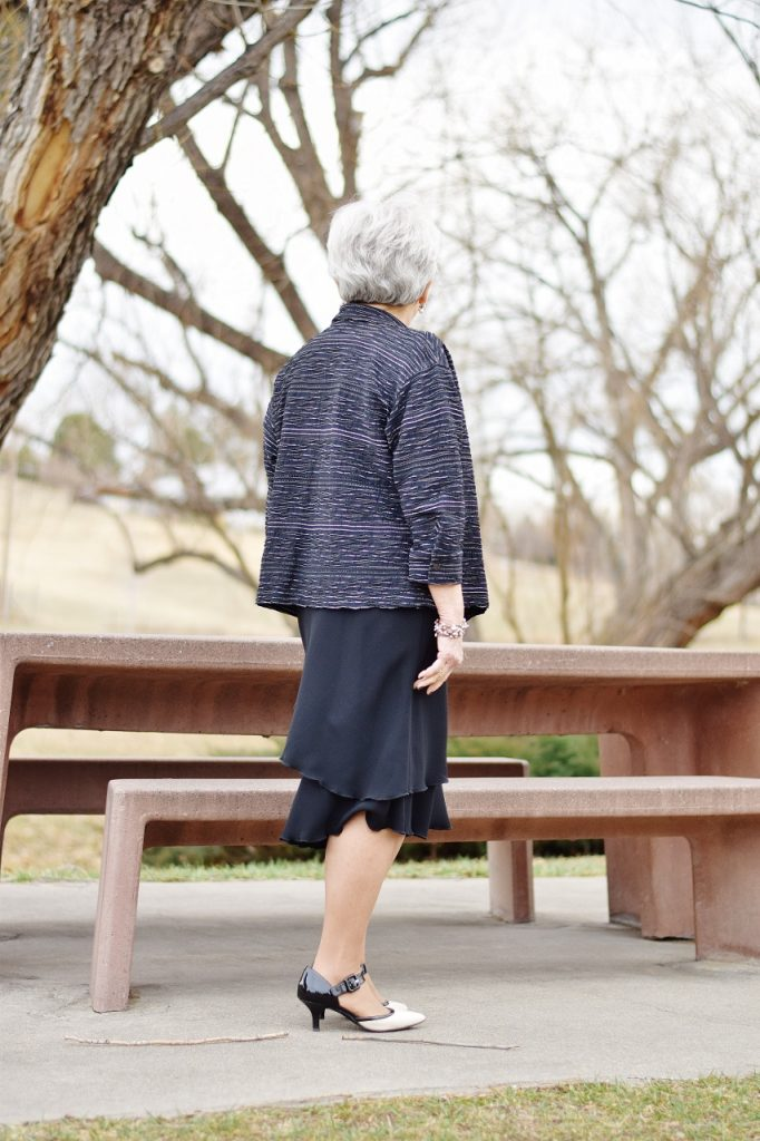 Wearing our Little Black Dress for the Spring for women over 60