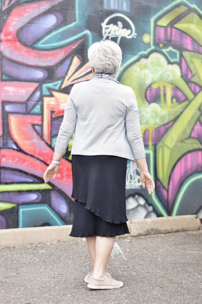 black dress style made casual for women over 60
