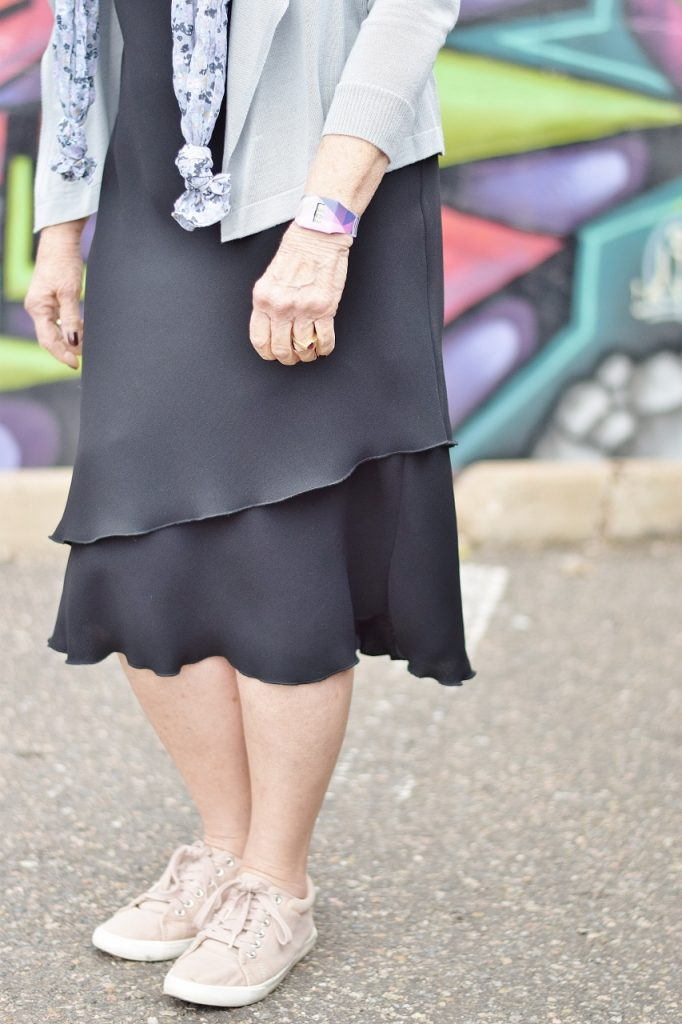 black dress style made casual for women with sneakers