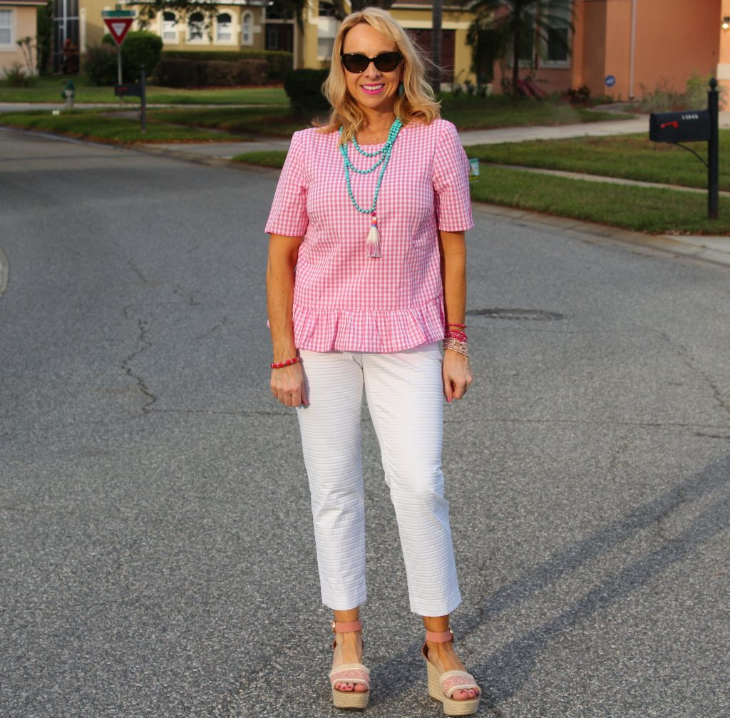 Pink Gingham top with white jeans