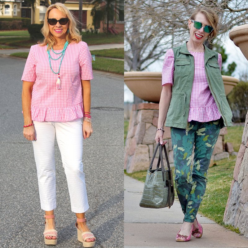 Pink Gingham top two different ways
