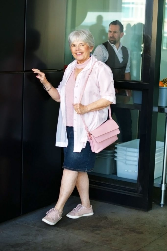 How to style a sheer pink top for women over 60