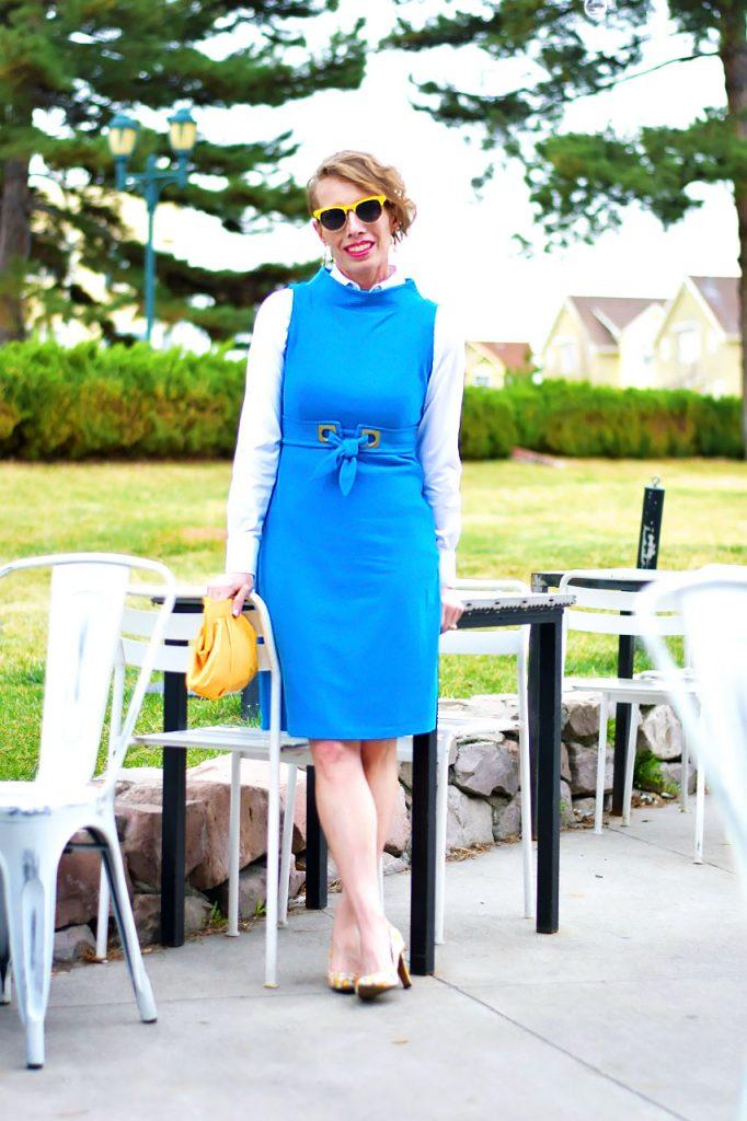 Wearing a Button Down Shirt under a dress for women over 50