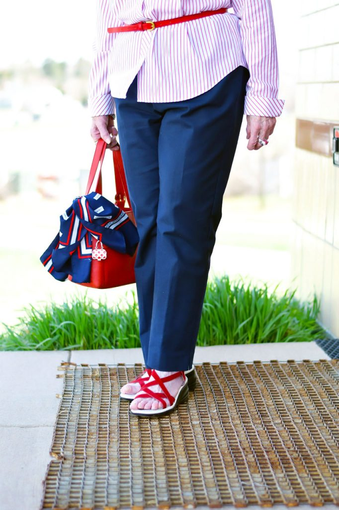 Wearing Summer sandals as a pop of color