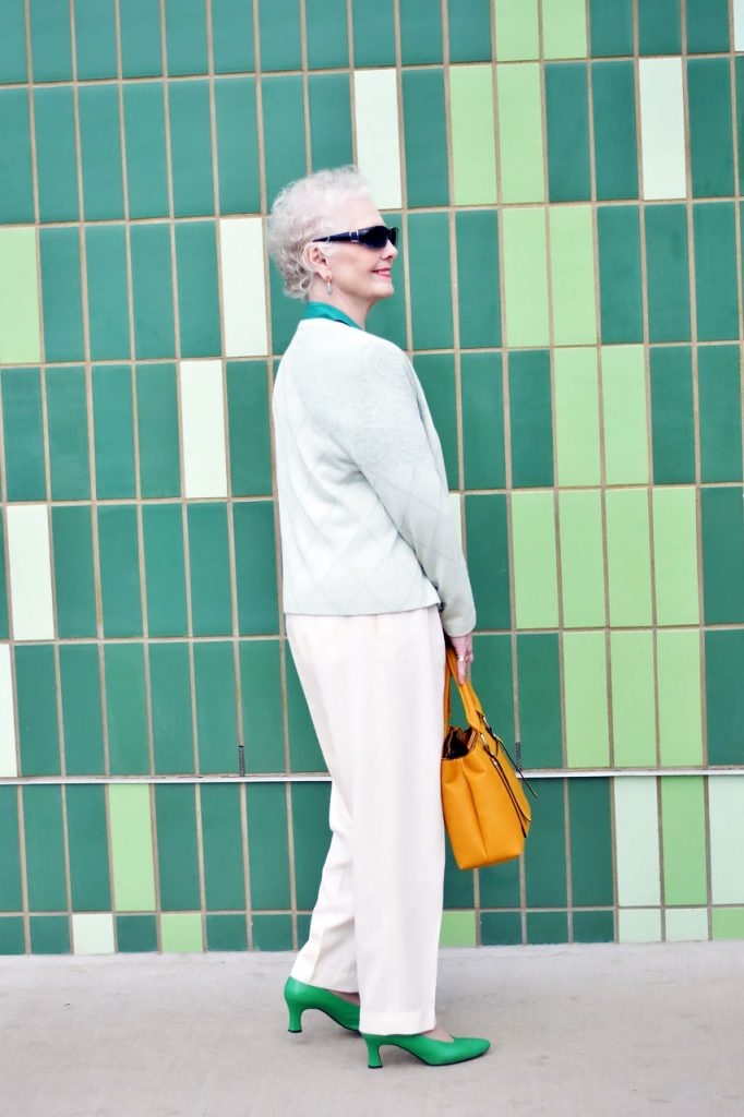 80 year old woman wearing a problematic piece styled from her closet